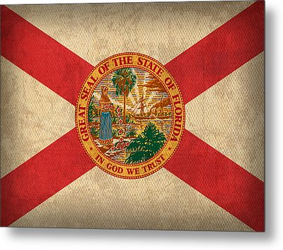 Florida State Flag Art On Worn Canvas Metal Print by Design Turnpike