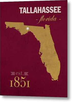 Florida State University Seminoles Tallahassee Florida Town State Map Poster Series No 039 Metal Print by Design Turnpike