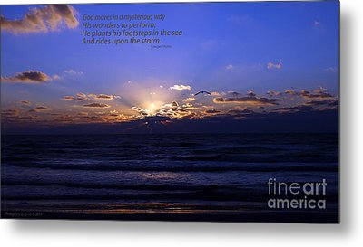 Florida Sunset Beyond The Ocean  - Quote Metal Print by Gena Weiser