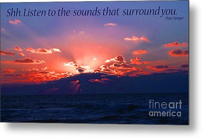 Florida Sunset Beyond The Ocean - Shh Metal Print by Gena Weiser
