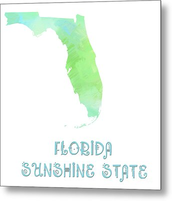 Florida - Sunshine State - Map - State Phrase - Geology Metal Print by Andee Design