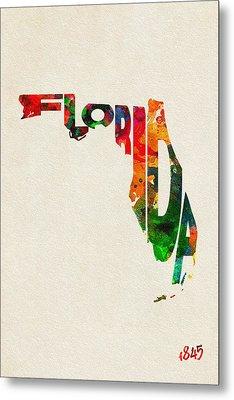 Florida Typographic Watercolor Map Metal Print by Ayse Deniz