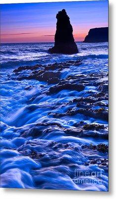 Flow - Dramatic Sunset View Of A Sea Stack In Davenport Beach Santa Cruz. Metal Print by Jamie Pham