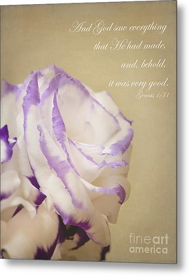 Flower And Bible Verse Metal Print by Ivy Ho
