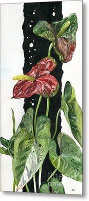 Metal Print featuring the painting Flower Anthurium 01 Elena Yakubovich by Elena Yakubovich