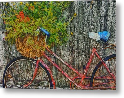 Flower Basket On A Bike Metal Print