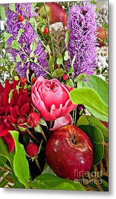 Flower bouquet and red apple photograph by valerie garner - Valerie garnering ...