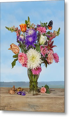Metal Print featuring the photograph Flower Bouquet On A Ledge by Levin Rodriguez