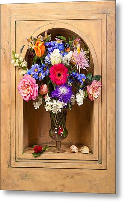 Metal Print featuring the photograph Flower Bouquet On Closed Niche by Levin Rodriguez