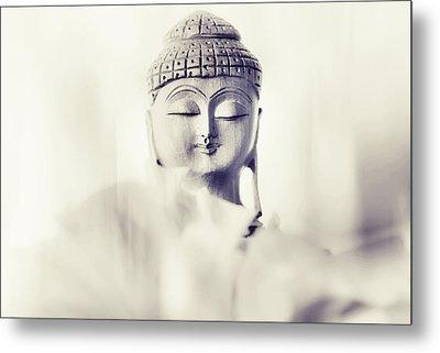 Flower Buddha. Monochrome Metal Print by Jenny Rainbow