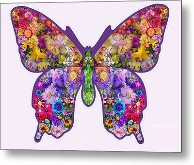Flower Butterfly Metal Print by Alixandra Mullins