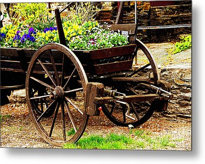 Flower Cart Metal Print by Design Windmill