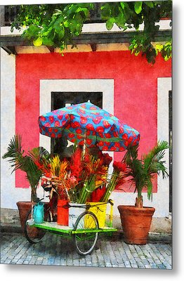 Flower Cart San Juan Puerto Rico Metal Print by Susan Savad