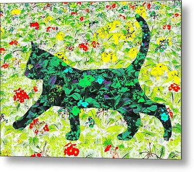 Flower Cat Metal Print
