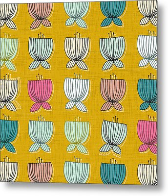 Flower Cups Yellow Metal Print by Sharon Turner