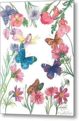 Flower Fairy Illustrated Butterfly Metal Print