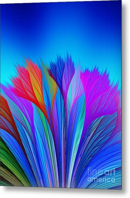 Flower Fantasy In Blue Metal Print