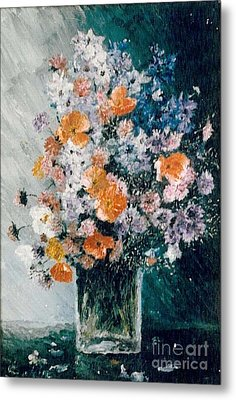 Metal Print featuring the painting Flower Field by Sorin Apostolescu