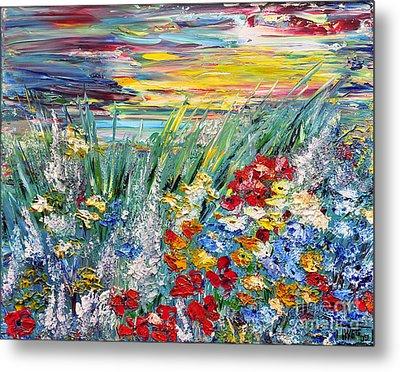 Metal Print featuring the painting Flower Field by Teresa Wegrzyn