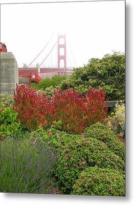 Flower Garden At The Golden Gate Bridge Metal Print by Connie Fox