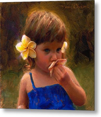 Flower Girl - Tropical Portrait With Plumeria Flowers Metal Print by Karen Whitworth