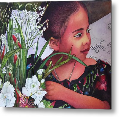 Flower Girl On Dia De Los Muertos Metal Print