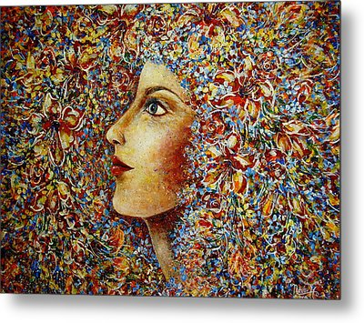 Metal Print featuring the painting Flower Goddess. by Natalie Holland