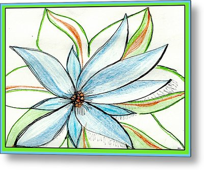 Flower In Blue Metal Print by Becky Sterling