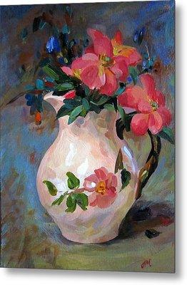Metal Print featuring the painting Flower In Vase by Jieming Wang