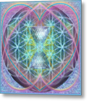 Flower Of Life Forested Chalice In Passion Brights Metal Print by Christopher Pringer