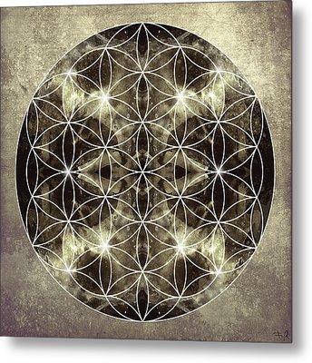 Flower Of Life Silver Metal Print