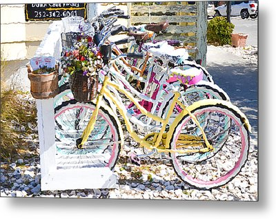 Flower On A Bicycle 2 Metal Print by Lanjee Chee