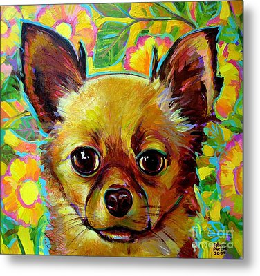 Flower Power Chihuahua Metal Print