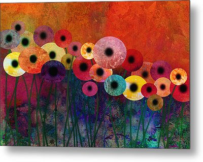 Flower Power Five Abstract Art Metal Print by Ann Powell