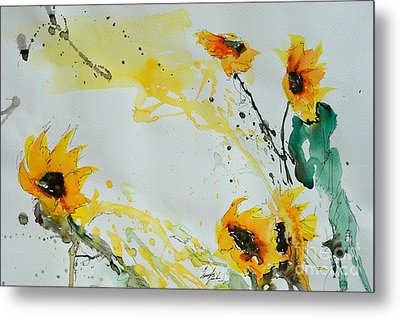 Flower Power- Sunflower Metal Print by Ismeta Gruenwald