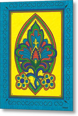 Metal Print featuring the painting Flower Power Talavera Style by Susie Weber