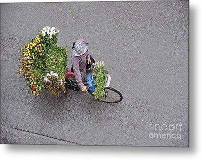 Flower Seller In Street Of Hanoi Metal Print by Sami Sarkis
