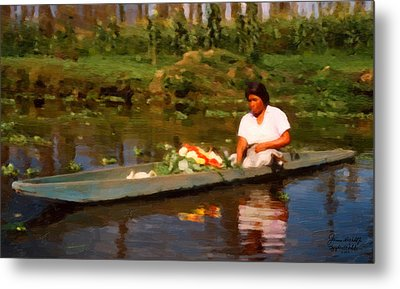 Flower Seller Xochimilco Metal Print by Spyder Webb