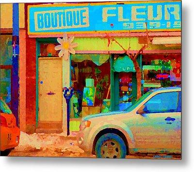 Flower Shop St Henri Boutique Fleuriste Window Notre Dame Ouest Montreal City Scene Carole Spandau Metal Print by Carole Spandau
