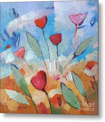 Flower Square Metal Print by Lutz Baar