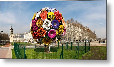 Flower Tree Sculpture At Place Antonin Metal Print by Panoramic Images