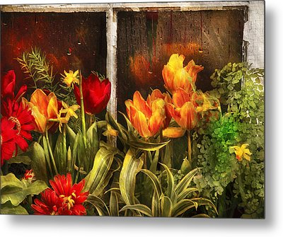 Flower - Tulip - Tulips In A Window Metal Print by Mike Savad