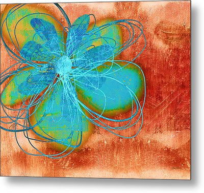 Flower  Whimsy In Blue Metal Print by Ann Powell