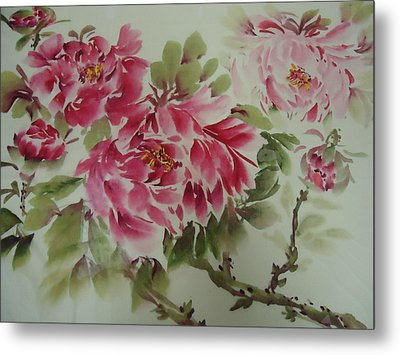 Metal Print featuring the painting Flower0725-3 by Dongling Sun