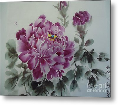 Metal Print featuring the painting Flower427012-4 by Dongling Sun