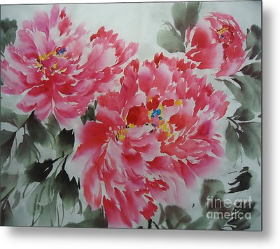 Metal Print featuring the painting Flower51012-4 by Dongling Sun