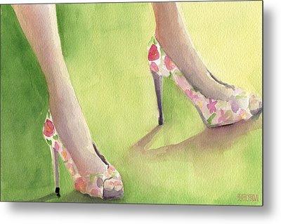 Flowered Shoes Fashion Illustration Art Print Metal Print