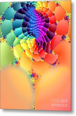 Flowering Fractal Fruit Tree Metal Print by Rebecca Phillips