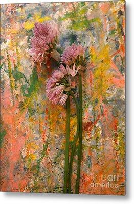 Flowering Garlic Metal Print by Nancy Kane Chapman
