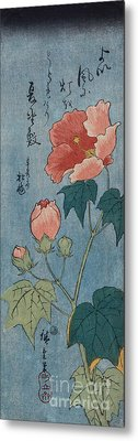 Flowering Poppies Tanzaku Metal Print by Ando Hiroshige